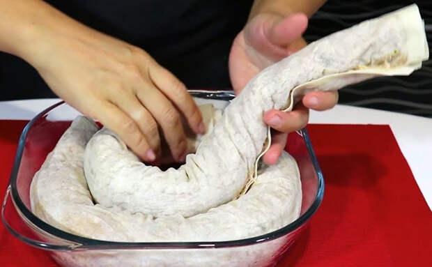 Пирог-улитка без с мясом и без хлопот с тестом: делаем из простого лаваша