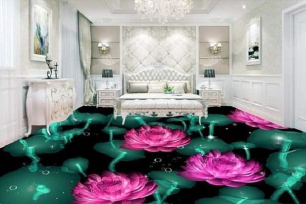 Эпоксидное покрытие отлично подходит для интерьера спальной комнаты.