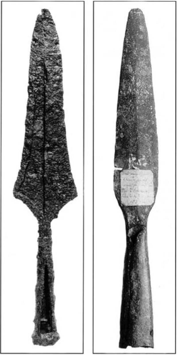 Англосаксонский железный наконечник копья с характерным 'зигзагообразным' сечением, Наконечник          копья IX столетия, найденный в Темзе в 1837 г.