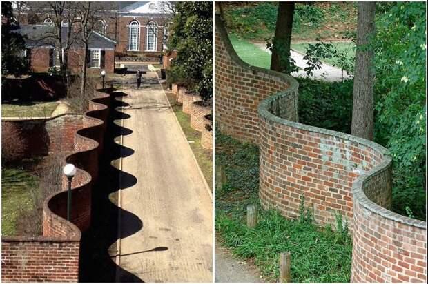 Британцы строят волнистые заборы, которые не уступают в крепости обычным, а кирпичей требуют в 2 раз