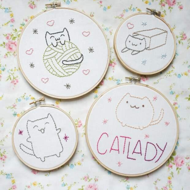 вышивка котов для начинающих