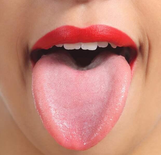 Гладкий розовый язык  люди, орган, язык