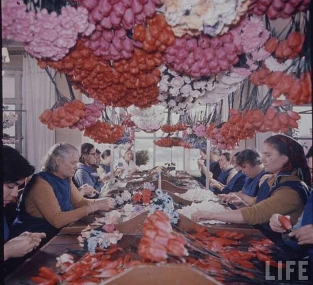 Составление букетов бумажных цветов как элемент терапии психических заболеваний. СССР, качество, медицина, фото