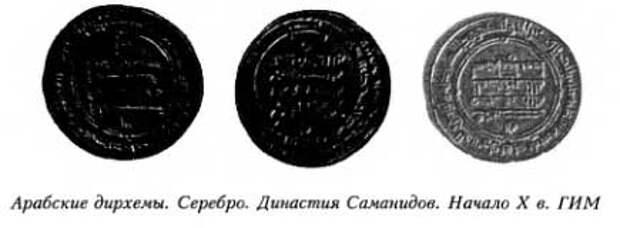 Арабские дирхемы. Серебро. Династия Саманидов. Начало X в. ГИМ