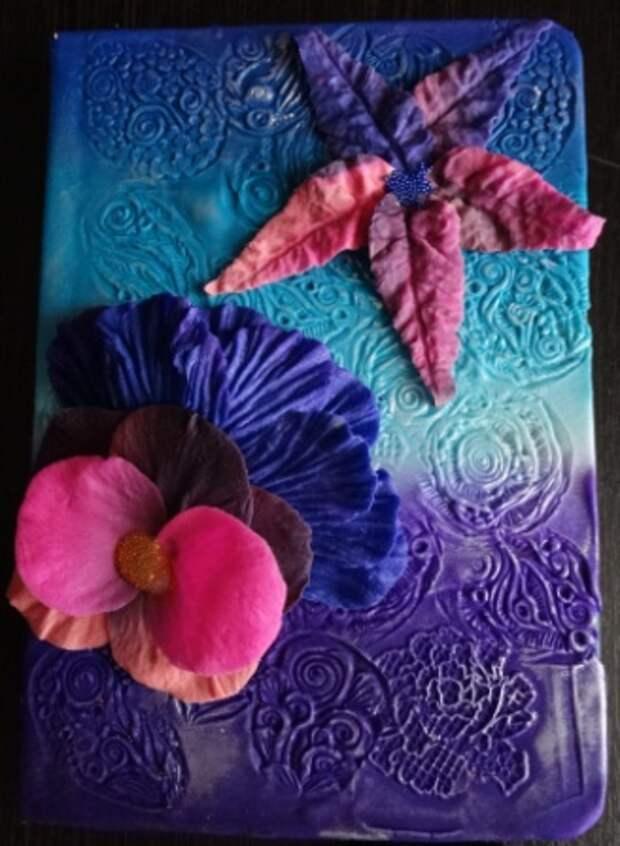 Декор обложки блокнота полимерной глиной. Мой первый опыт
