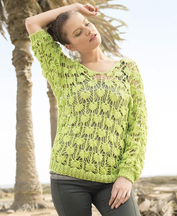 Светло-зеленый ажурный джемпер