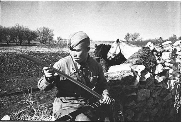 Советский кавалерист осматривает свое оружие — шашку. СССР, война, история