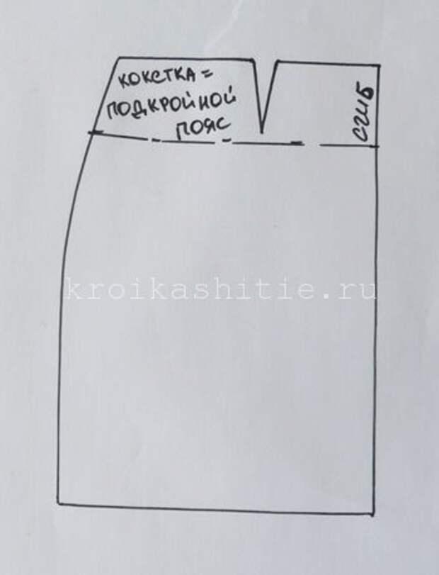 выкройка кокетки юбки