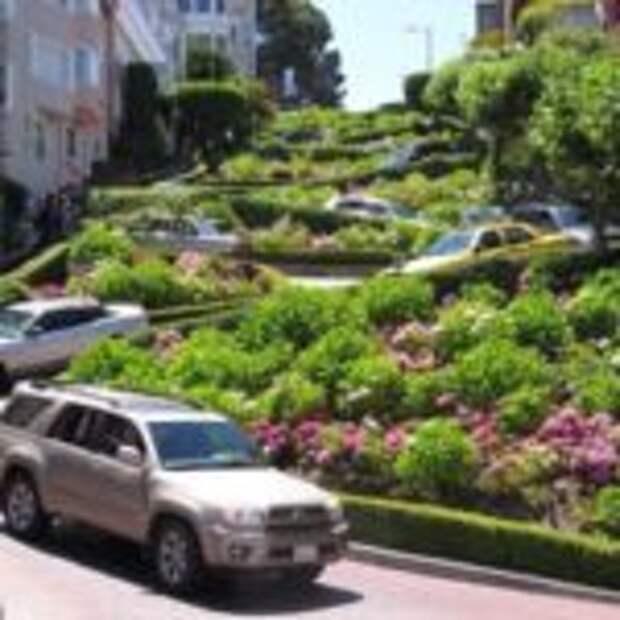 Ломбард-стрит самая извилистая улица в мире, Сан-Франциско, США