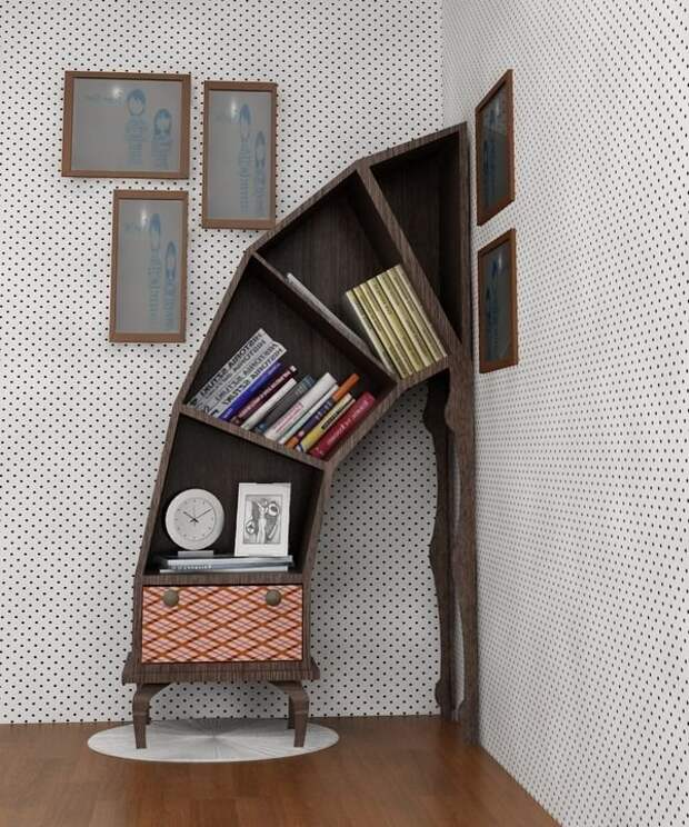 И полки, вырастающие из стен и пола креативная, кривая, мебель, смешная, странна, фантастическая