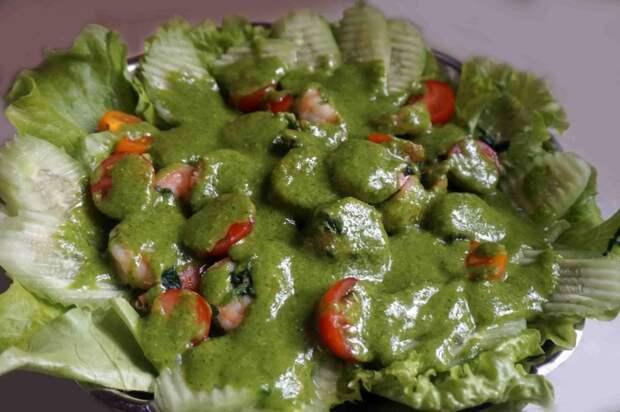 Креветки в зелёном соусе