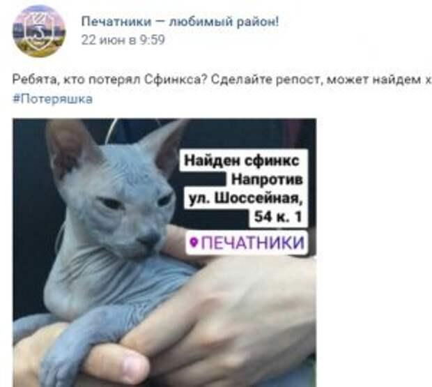 """Скриншот из группы """"Печатники- любимый район"""""""