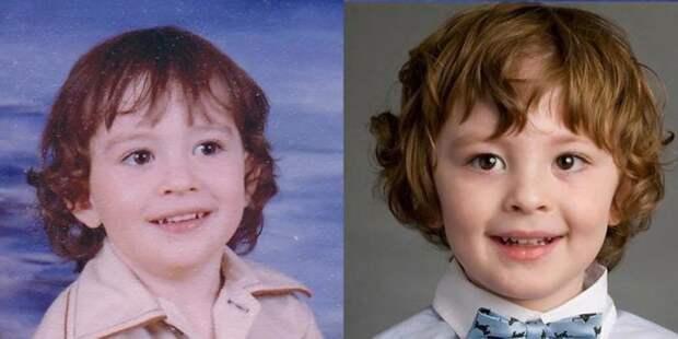 23. Отец и сын: фото с разницей в 37 лет дети, неожиданно, подборка, родители, семья, сравнение, тогда и сейчас, фото