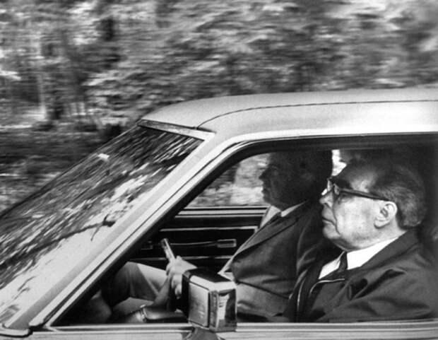 Л. И. Брежнев и Ричард Никсон в Олдсмобиле. Автор Мусаэльян Владимир, 1973.jpg