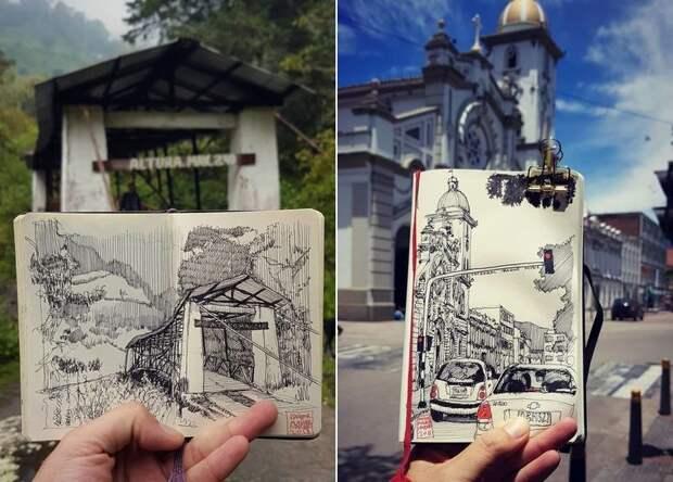 Реальность, перенесенная на бумагу: невероятные скетчи архитектора из Колумбии