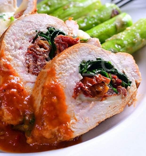 Филе ИНДЕЙКИ, фаршированное МОЦАРЕЛЛОЙ, вялеными томатами и базиликом