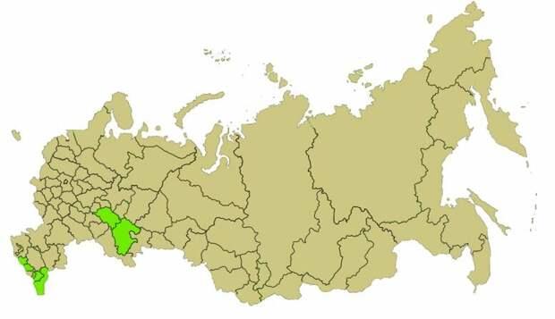 На этой карте показаны регионы Российской Федерации с компактно проживающим мусульманским населением. Крым не указан, потому что карта была составлена до 2014 года, но и там мусульманского населения очень мало