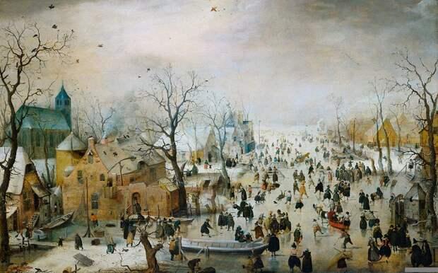 Зимний пейзаж с жителями, катающимися на льду 1609 год.