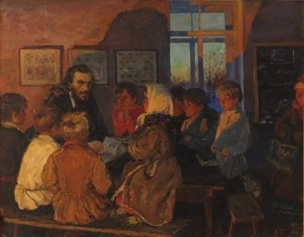 А. Пластов. Лев Толстой с яснополянскими школьниками. 1959 год.