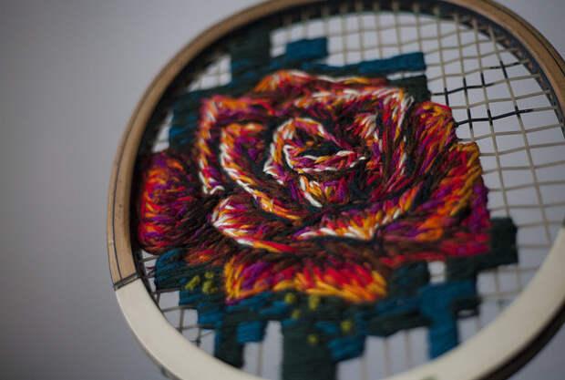 Вышивка на теннисных ракетках Danielle Clough