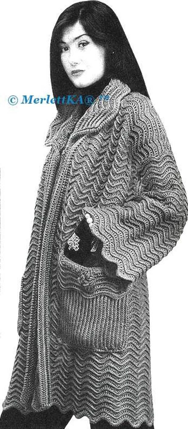 ВЯЖЕМ. Пальто и юбка узором ЗИГЗАГ