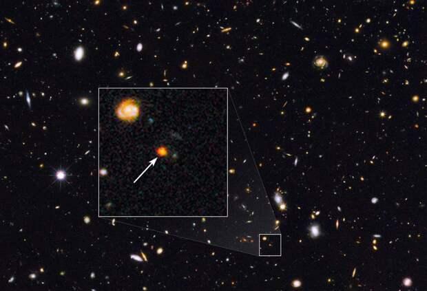 Галактическое <span>ядро <span>GOODS-N-774, обнаруженное в 2014 году посредством телескопа Hubble. На снимке в выделенном участке запечатлен свет миллионов новорожденных звезд в ранней Вселенной</span></span>