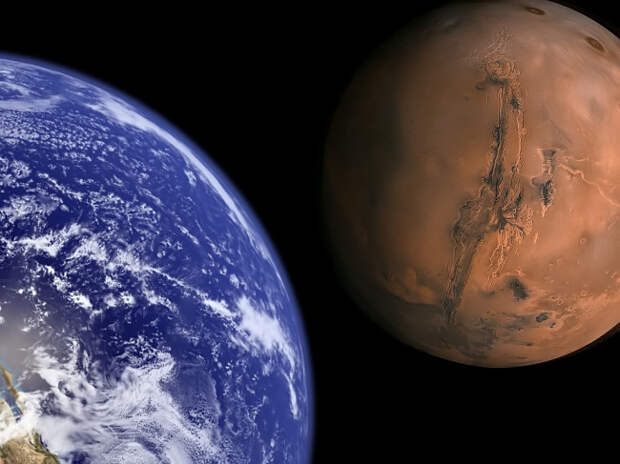Earth and Mars.