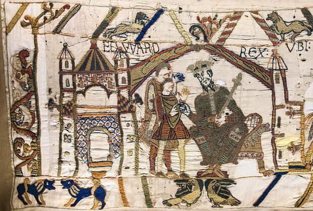 Гобелен из Байе, XI век (фрагмент). Несмотря на название, ни гобеленом, ни шпалерой это изделие не является, представляя собой вышивку шерстяными нитями на льняном полотне. Длина составляет около 70 метров, ширина - чуть более полуметра