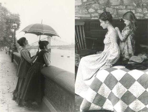 Архивные фотографии платьев от Лоры Эшли.