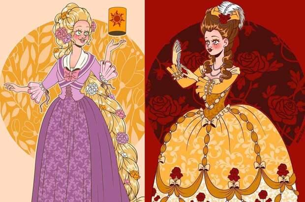 Художник показал исторически верные наряды принцесс Disney