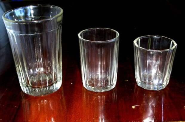 С помощью гранёного стакана...