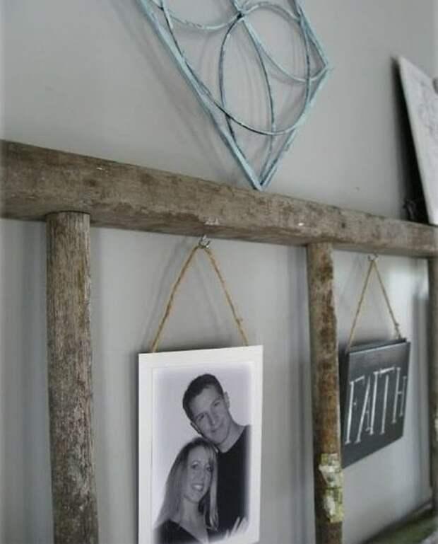 10. Рамка для фото дизайн, из старых вещей, лестница, своими руками, стремянка, фото
