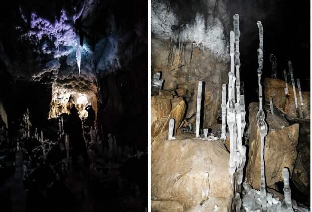 В пещере Глухой Ледяной на Чусовой