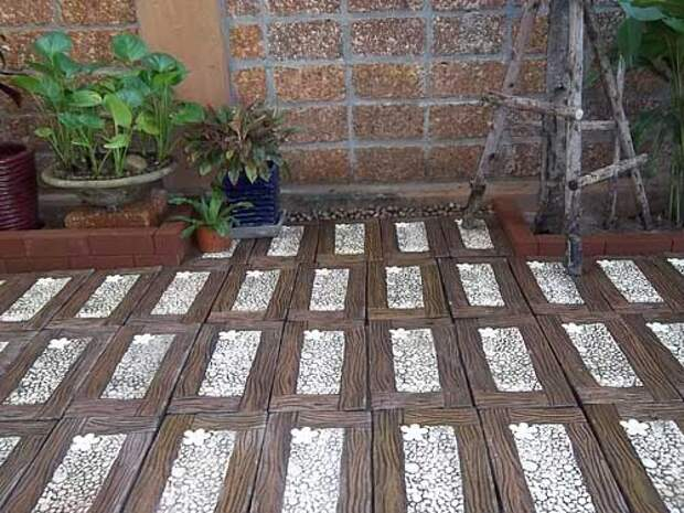 дорожки на даче из плитки под дерево