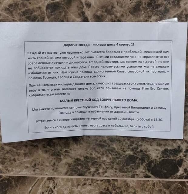 Петербуржцы провели «крестный ход» против тараканов
