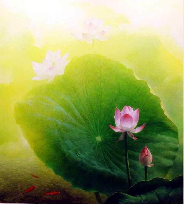 Jiang Debin. Цветы акварелью. Лотос четырнадцатый