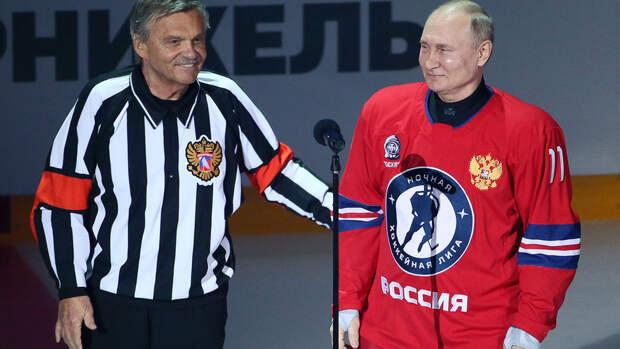 Владимир Путин забросил восемь шайб в гала-матче Ночной хоккейной лиги