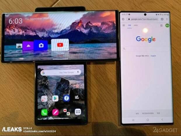 Показаны реальные фото Т-образного смартфона с двумя экранами LG Wing