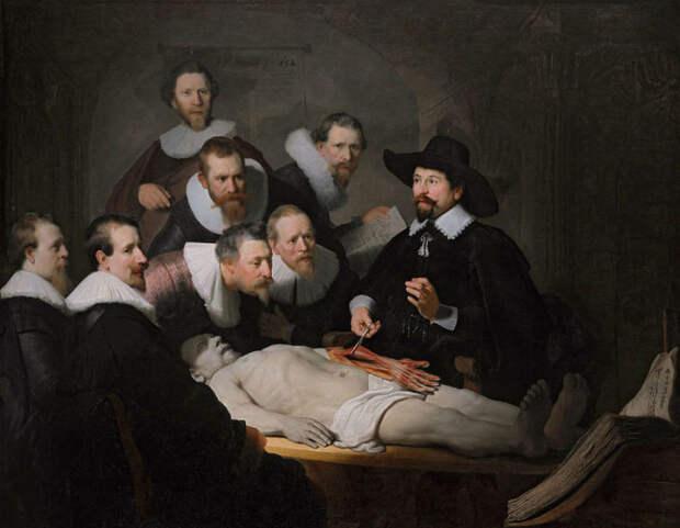 Картина Рембрандта «Урок анатомии доктора Тюльпа» (1632). | Фото: atlasobscura.com.