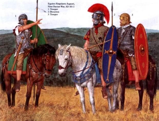 Всадники Императорской конной гвардии (первая дакийская война, 101-102 гг. н.э.): 1, 3 - кавалеристы, 2 - декурион