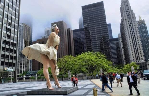 Памятник в Чикаго Marilyn forever. | Фото: img.tourister.ru.