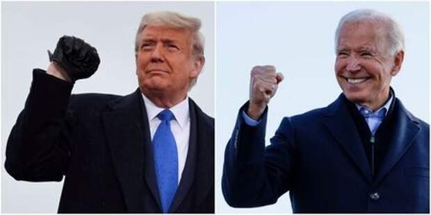 U.S. President Donald Trump pumping his fist during a campaign event at Capital Region International Airport in Lansing, Michigan, U.S. October 27, 2020, and Democratic U.S. presidential nominee and former Vice President Joe Biden making a fist during a drive-in campaign stop in Des Moines, Iowa, U.S., October 30, 2020. REUTERS/Jonathan Ernst/Brian Snyder