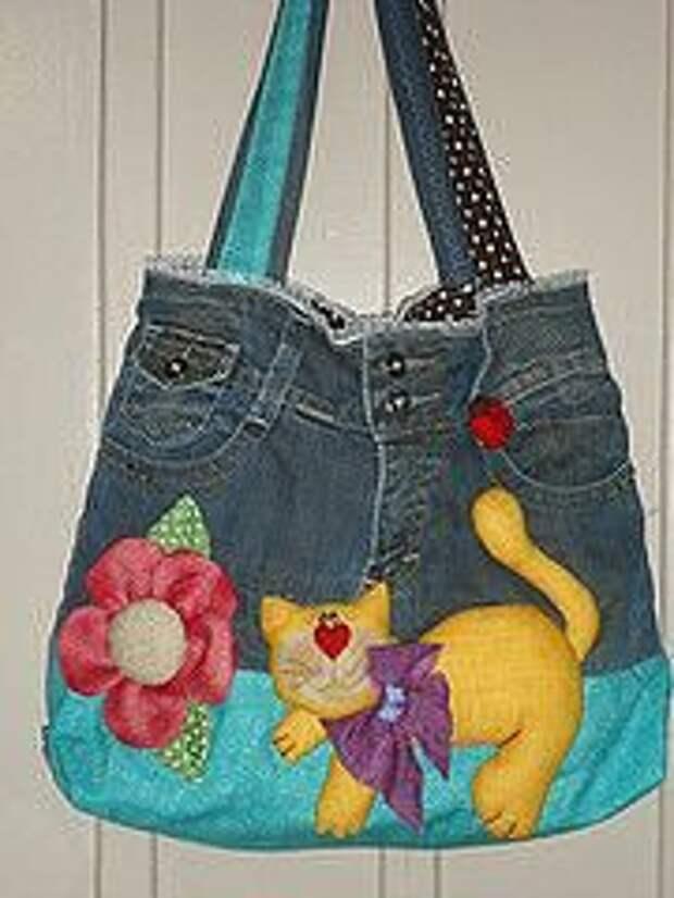 Джинсовые сумочки могут быть даже такими. Идеи от рукодельниц.