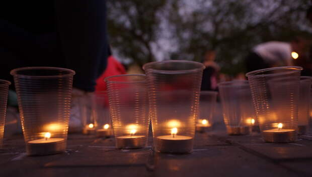 Активисты Подольска выложили фигуру Родины‑матери из 4 тыс свечей