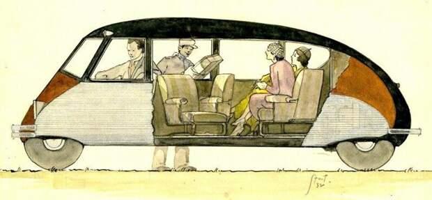 Принципиальная схема легкового автомобиля вагонной компоновки с объемным салоном авто, автомобили, атодизайн, дизайн, интересный автомобили, олдтаймер, ретро авто, фургон