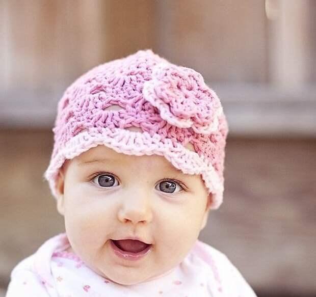 Летняя шапочка крючком для новорожденной девочки - описание-схемы+ ...