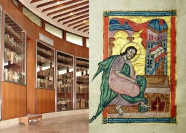 Слева,Хранилище армянских манускриптов.Справа Одна из миниатюр рукописи