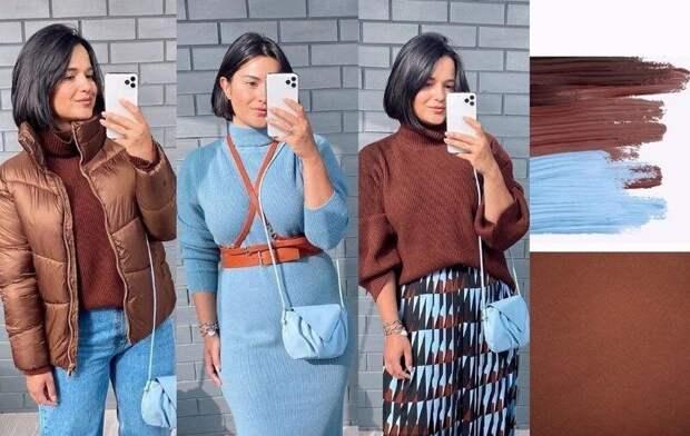 Стилист с размером XL показывает на себе стильные образы для элегантных женщин