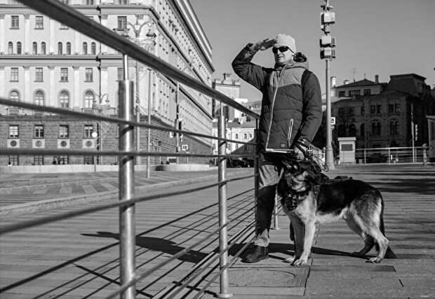 Овчарка-поводырь и ее незрячий хозяин стали героями фотопроекта библиотек СВАО