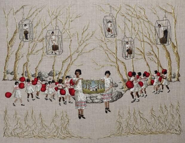 необычная вышивка Michelle Kingdom